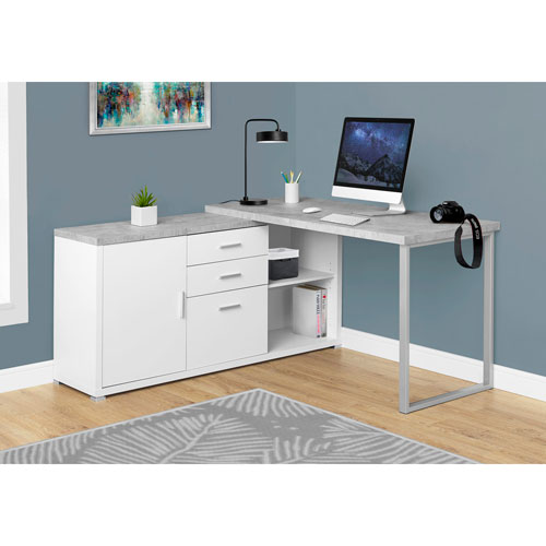 White Cement Look Left Or Right Facing 60 Inch Computer Desk