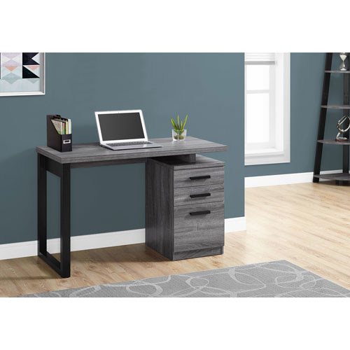 Grey-Black Left Or Right Facing 48-Inch Computer Desk