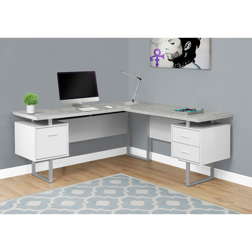 White Cement-Look Left or Right Facing Computer Desk