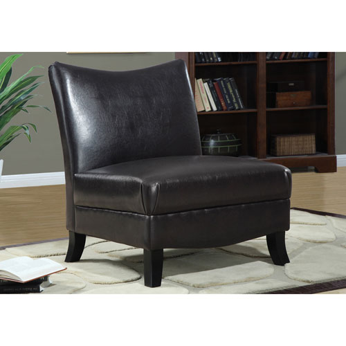 Dark Brown Accent Chairs.Hawthorne Ave Dark Brown Leather Look Fabric Accent Chair