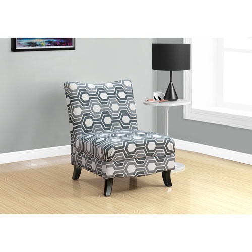 Grey Geometric Fabric Accent Chair
