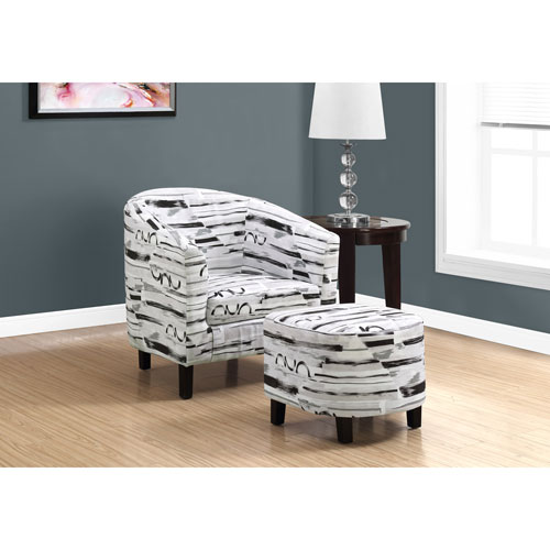Grey-Black Brush Design Accent Chair with Ottoman