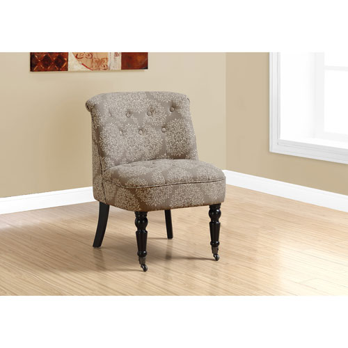 Traditional Style Taupe Snowflake Fabric Accent Chair