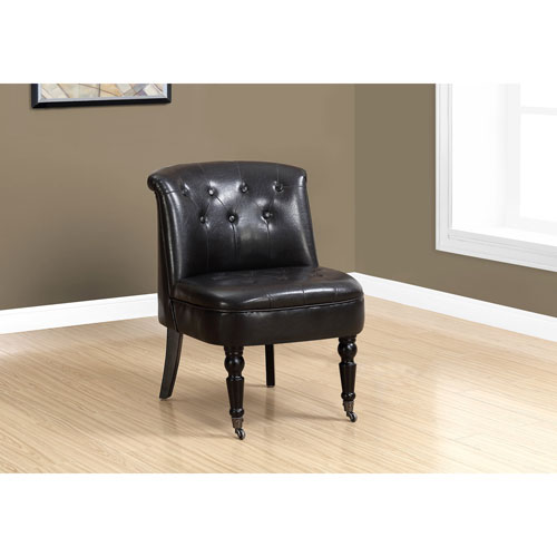 Hawthorne Ave Traditional Style Dark Brown Leather Look Accent Chair