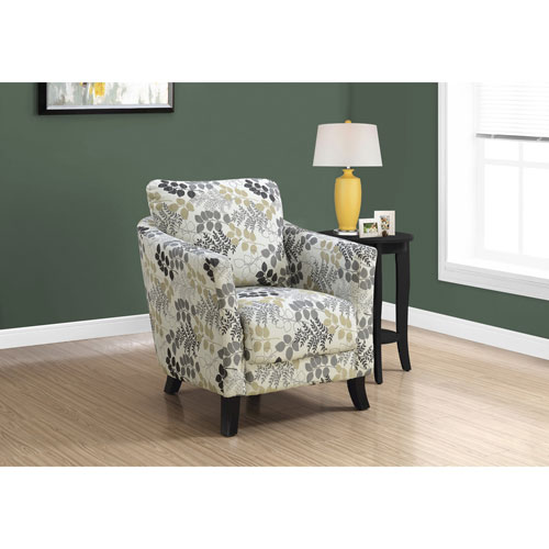 Earth Tone Floral Accent Chair
