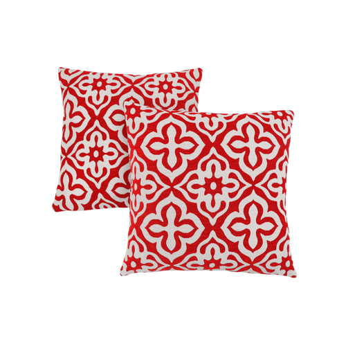 Hawthorne Ave 18-Inch Red Motif Design Pillow- Set of 2