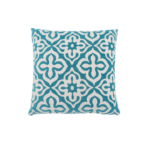 Hawthorne Ave 18-Inch Teal Motif Design Pillow