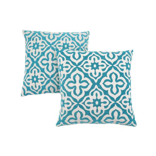 Hawthorne Ave 18-Inch Teal Motif Design Pillow- Set of 2