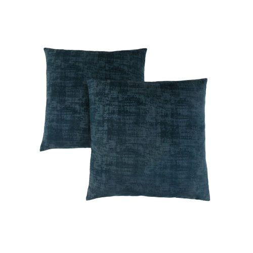 Hawthorne Ave 18-Inch Dark Blue Brushed Velvet Pillow- Set of 2