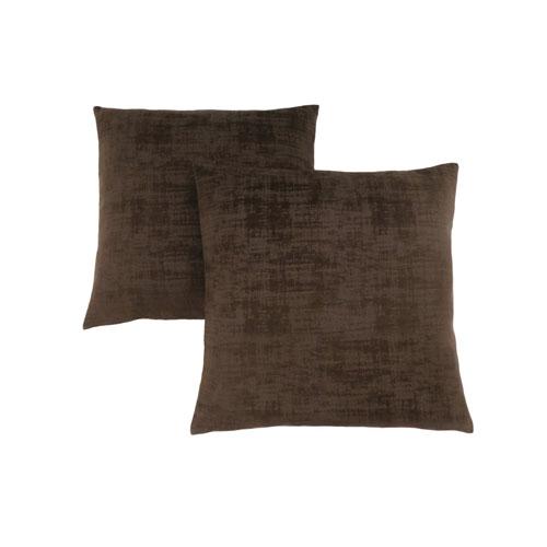 18-Inch Dark Brown Brushed Velvet Pillow- Set of 2