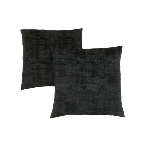 Hawthorne Ave 18-Inch Black Brushed Velvet Pillow- Set of 2