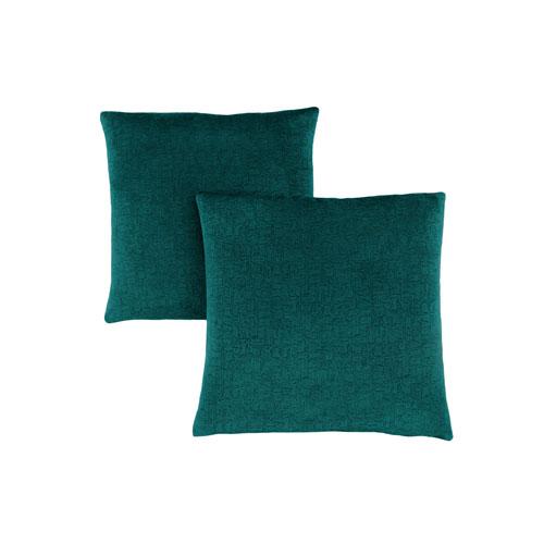 18-Inch Emerald Green Mosaic Velvet Pillow- Set of 2