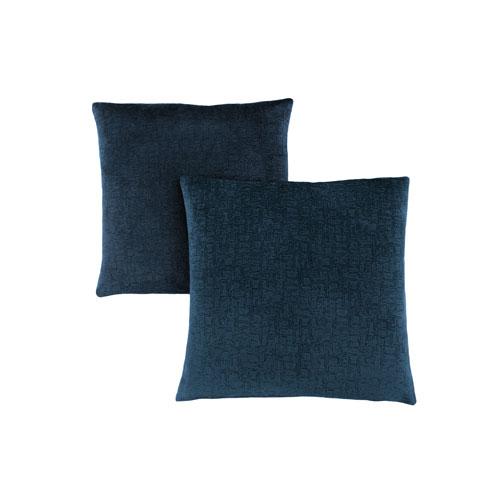 Hawthorne Ave 18-Inch Dark Blue Mosaic Velvet Pillow- Set of 2