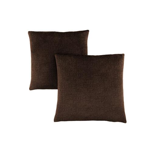 18-Inch Dark Brown Mosaic Velvet Pillow- Set of 2