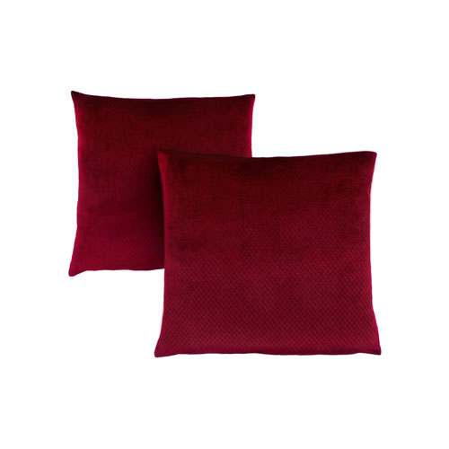 18-Inch Burgundy Diamond Velvet Pillow- Set of 2