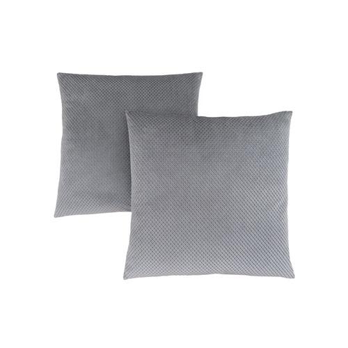 18-Inch Silver Diamond Velvet Pillow- Set of 2