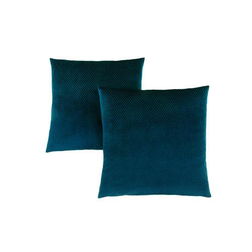 18-Inch Steel Blue Diamond Velvet Pillow- Set of 2