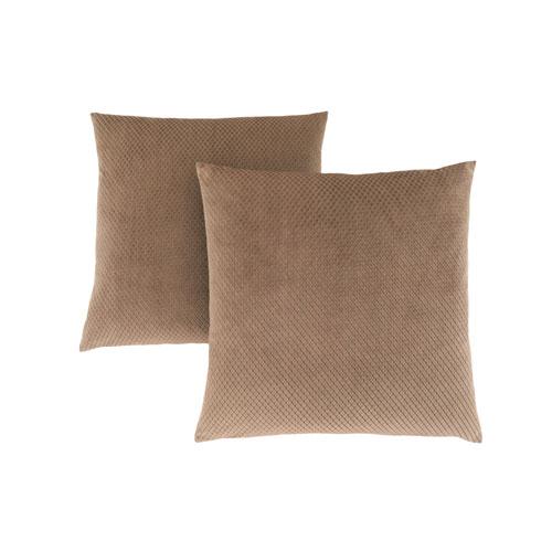 Hawthorne Ave 18-Inch Beige Diamond Velvet Pillow- Set of 2