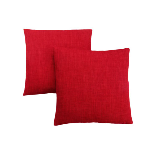 18-Inch Linen Patterned Red Pillow- Set of 2
