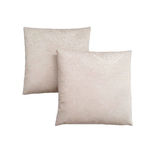 18-Inch Light Taupe Feathered Velvet Pillow- Set of 2