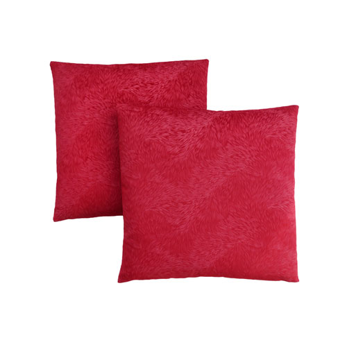 Hawthorne Ave 18-Inch Red Feathered Velvet Pillow- Set of 2