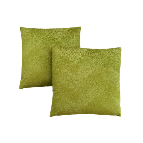 18-Inch Lime Green Feathered Velvet Pillow- Set of 2