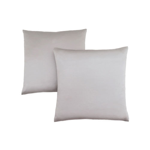 18-Inch Silver Satin Pillow- Set of 2