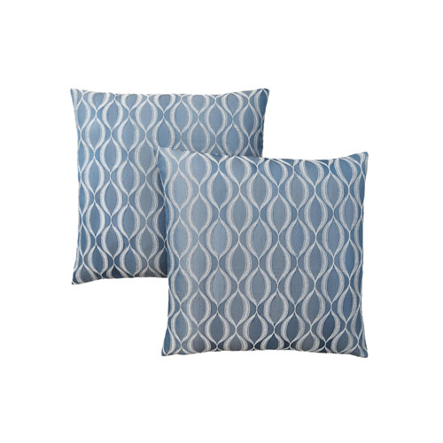 18-Inch Blue Wave Pattern Pillow- Set of 2