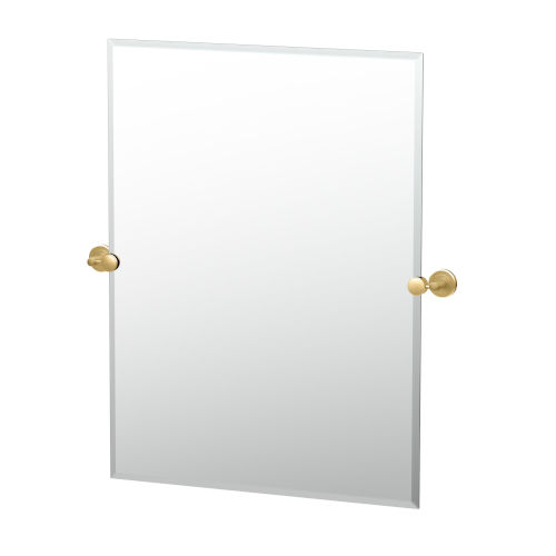 Latitude II Brushed Brass 32-Inch Frameless Rectangle Mirror