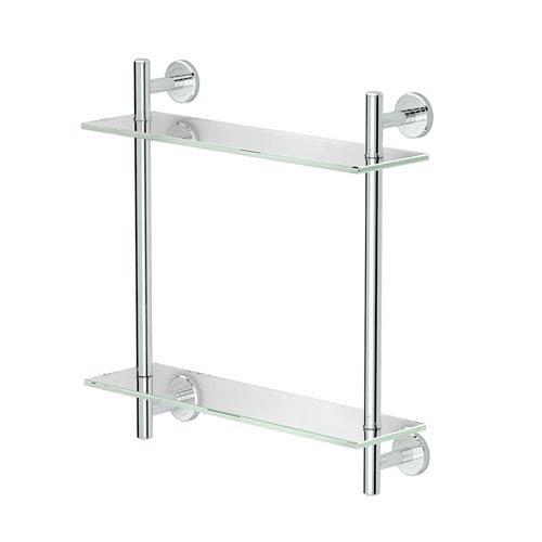 Latitude II, 17-inch L Two-Tier Glass Shelf, Chrome
