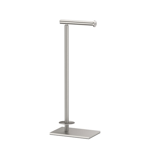 Modern Square Base Tissue Holder Stand With Storage Satin Nickel
