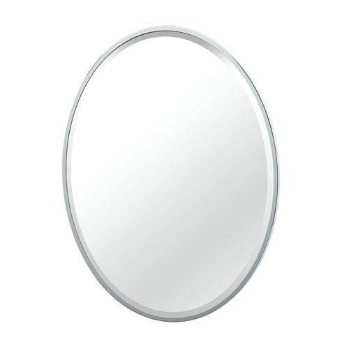 Flush Mount 33-Inch Framed Oval Mirror Chrome
