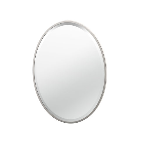 Flush Mount 27.5-Inch Framed Oval Mirror Satin Nickel