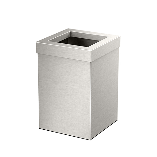 Square Modern Bathroom, Kitchen, Office, Waste and Trash Can Bin Satin Nickel