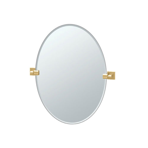 Gatco Elevate 26.5 Inch Frameless Oval Mirror in Brushed Brass