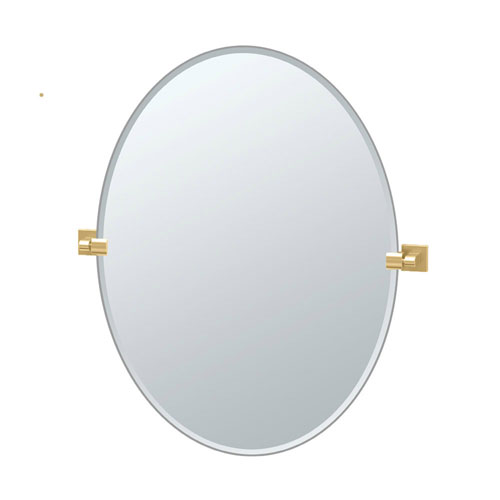 Gatco Elevate 32 Inch Frameless Oval Mirror in Brushed Brass