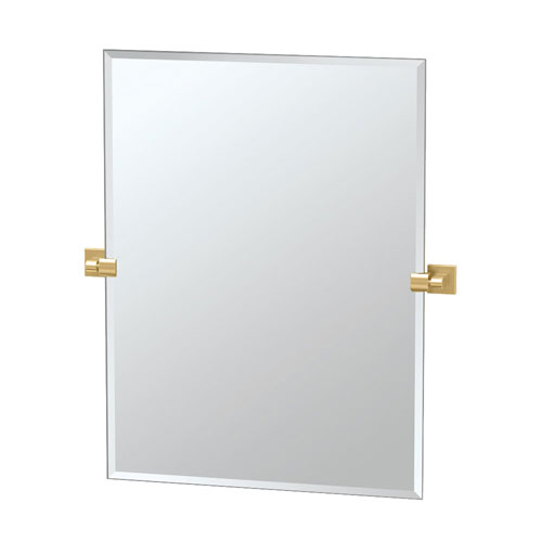 Elevate 31.5 Inch Frameless Rectangle Mirror in Brushed Brass