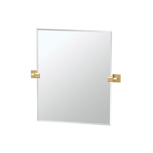 Elevate 24 Inch Frameless Rectangle Mirror in Brushed Brass