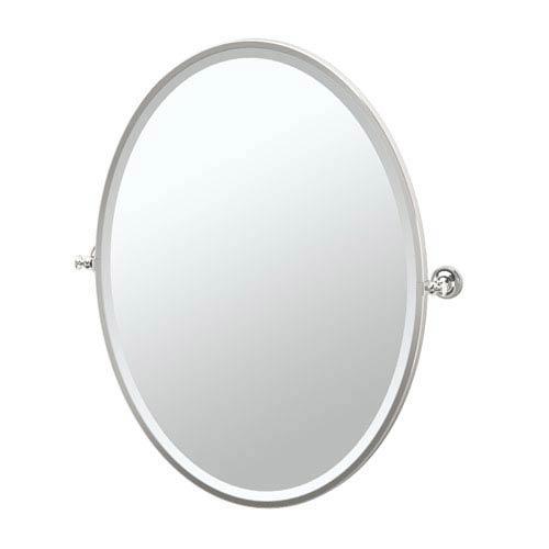 Tavern Polished Nickel Framed Large Oval Mirror
