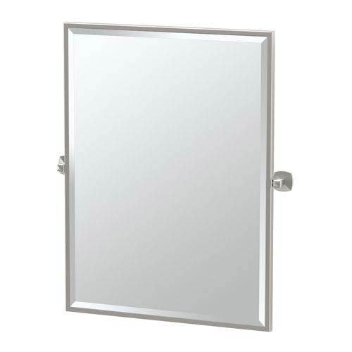 Jewel Satin Nickel Framed Large Rectangle Mirror