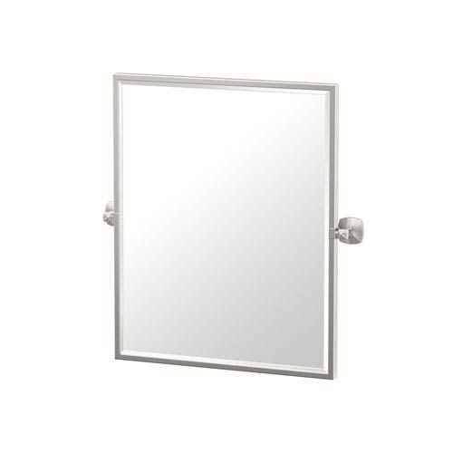 Jewel Framed Small Rectangle Mirror Satin Nickel