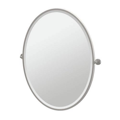 Latitude II Satin Nickel Framed Large Oval Mirror