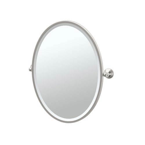 Charlotte Satin Nickel Framed Oval Mirror