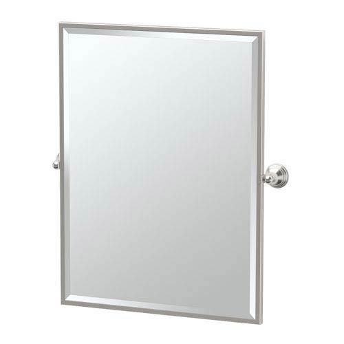 Charlotte Satin Nickel Framed Large Rectangle Mirror