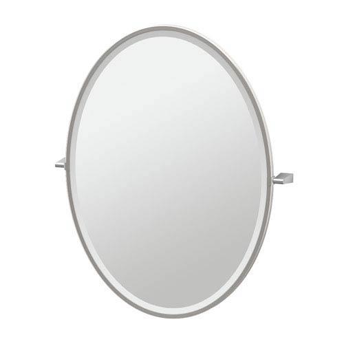 Bleu Satin Nickel Framed Large Oval Mirror