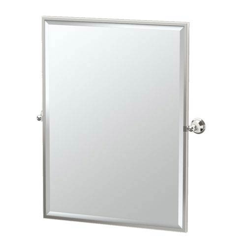 Laurel Ave Polished Nickel Framed Large Rectangle Mirror