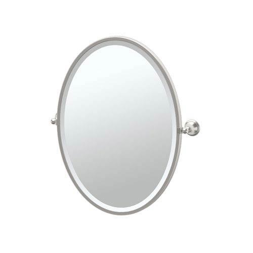 Laurel Ave Satin Nickel Framed Oval Mirror