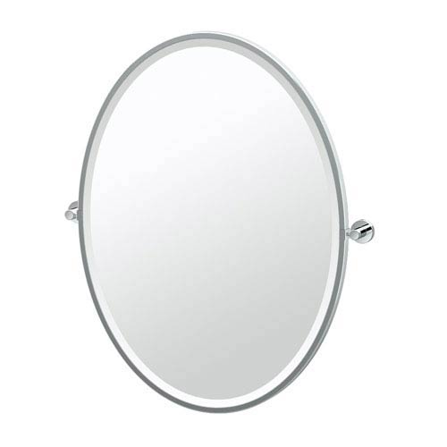 Glam Framed Large Oval Mirror Chrome