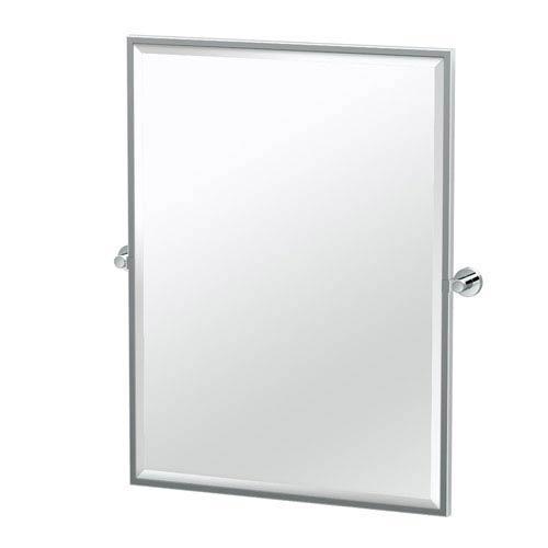 Glam Framed Large Rectangle Mirror Chrome
