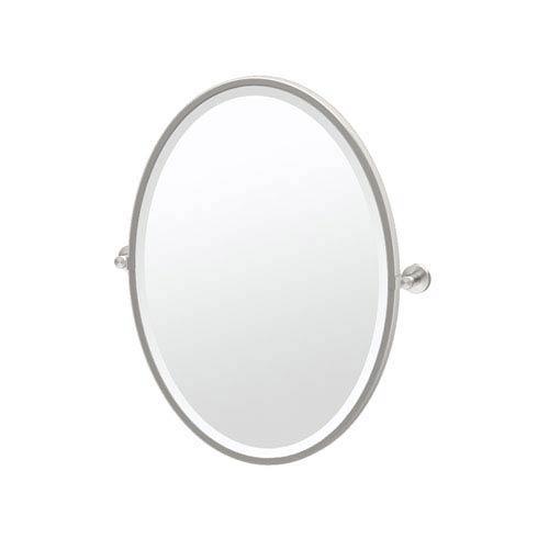 Glam Framed Oval Mirror Satin Nickel